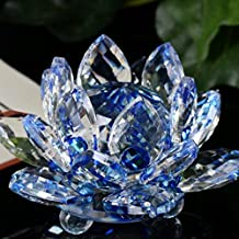 Décoration à la maison,Fulltime®Figurine en verre en cristal de Lotus figure presse-papiers ornement collection (Bleu)