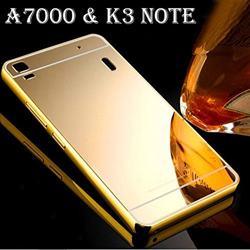 KPH Luxury Mirror Effect Acrylic back + Metal Bumper Case Cover for Lenovo A7000 ,K3 Note ( Gold )