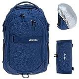 3 Teile Set BESTWAY Schulrucksack PACKER Rucksack 40177 + Mäppchen + Regencover (Blue Thunder (blau) 5006)