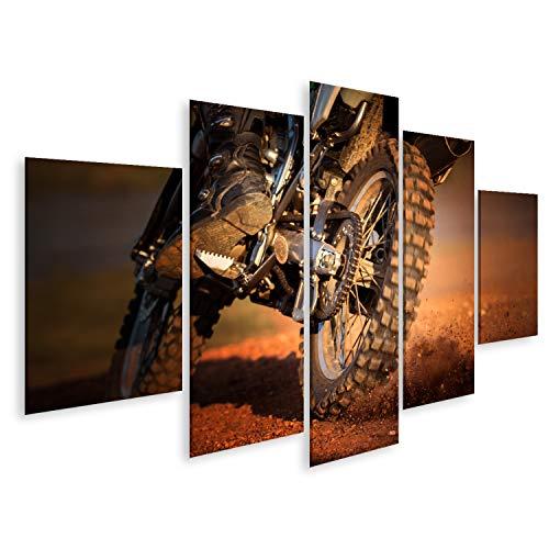 bilderfelix® Bild auf Leinwand Wirkung des Enduro-Motorrads auf dem Feldweg Wandbild, Poster, Leinwandbild QLM
