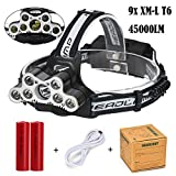 LE Super Bright 9 LED Headlamp Headlight,Ulanda-EU 9X XM-L T6 LED 45000 LM Rechargeable Head Torch Battery Powered Helmet Light for Camping, Running, Hiking and Reading,6 Brightness Modes Outdoor Head Torch,2 x 18650 Battery Included