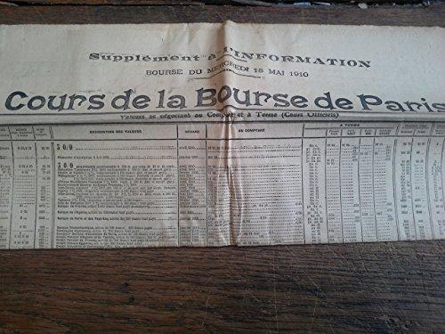 Bourse du mercredi 18 mai 1910 Cours de la bourse de Paris