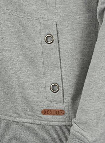 DESIRES Sandy Damen Kapuzenpullover Hoodie Sweatshirt mit Kängurutasche aus hochwertiger Baumwollmischung Light Grey Melange (8242)