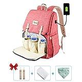 Baby Wickelrucksack Multifunktional mit Kinderwagen Haken Lätzchen Mama (pink)