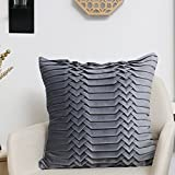 Valery Madelyn Frozen Winter Grey Christmas Cushion Cover Decorative 3D Pleated Velvet Throw Pillow Cover (45x45cm)