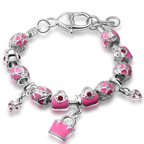 A TE® Bracciale Charm da Donna Raggaza Beads Rosa Smalto Blocco 18cm #JW-B130
