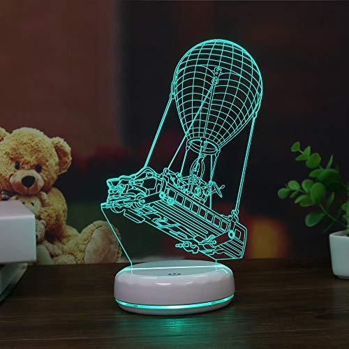 Base Porzellan Lampe (Porzellan White Base Pirate Schiff 3d Lampe Led Acryl Vision Stereo Kann Mit Fernbedienung Bunte Berührung (mit 18650 Lithium-Batterie und Fernbedienung))