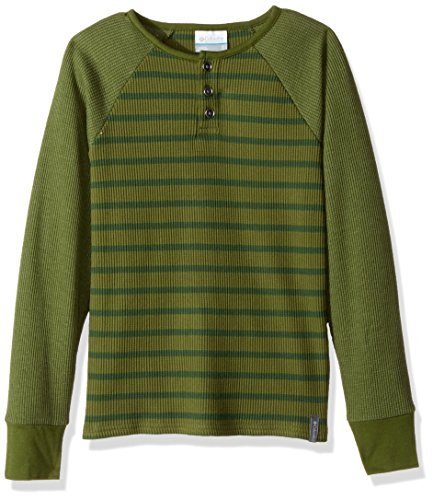 Columbia Big Boys Trulli Trails Thermal Henley, Black, Charcoal Heather Stripe, Large Pesto, Deep Woods Stripe