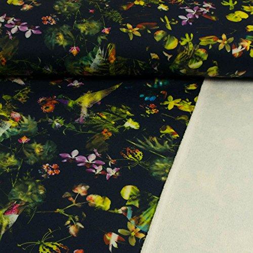 Alpenfleece Digitaldruck Kolibris & Blumen marine Kuschelfleece - Preis gilt für 0,5 Meter - (Kolibri-stoff)
