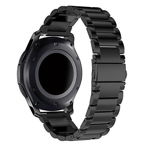 Gear s3 Bracelet, Samsung Gear S3 Frontier/ Classic Bracelet Sangle de Remplacement en Métal en Acier Inoxydable à Relâchement Rapide avec Outil de Remplacement de Pin Ajustable 22MM Bracelet Noir