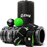 Zizz Fit Foam Roller Muscle Massage Set c/w Massage Balls & Resistance Band, Roll & Stretch for Deep Pain Relief in Your Back, Legs & Body, Exercise Guides and FREE Travel Bag Included.