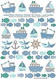 Schiffe wasserfeste Sticker Aufkleber zum Bekleben von z.B. Brotdosen (Grau-Blau)