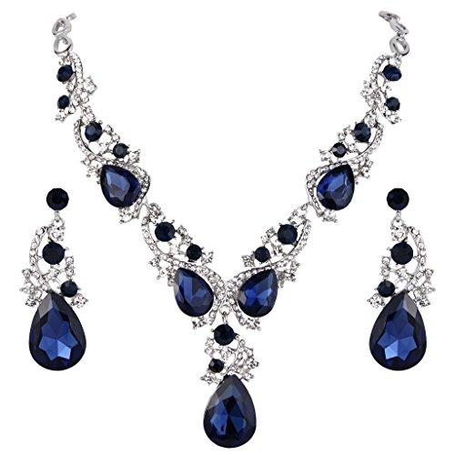 Clearine Damen Hochzeit Braut Kristall Multi Tropfen Cluster Statement Halskette Dangle Ohrringe Set Saphirbalu Silber-Ton