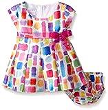 Bonnie Baby Baby Short Sleeve Abstract Print Shantung Dress, Fuchsia, 6-9 Months