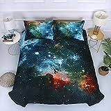Msxx Cielo Estrellado Galaxia Universo Planeta Juego De Cama De Unicornio De Cuatro 1 Funda Nórdica 1 Hoja 2 Fundas De Almohada Regalo De Cama Favorito De Los Niños De Navidad,3,150X210cm