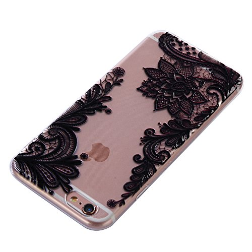 Girlyard Trasparente Gomma Custodia per iPhone 6/6S 4.7,Ultra Sottile Cristallo Morbido Gel TPU Backcover per iPhone 6/6S 4.7 Guscio Protettivo in Silicone Crystal Clear Colorate Pattern Disegni Ant Pizzo Nero