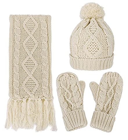 3 in 1 Warm Thick Cable Knitted Hat Scarf &