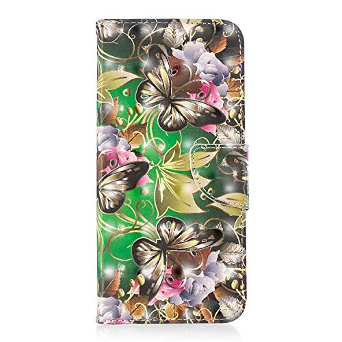 ZCXG Kompatibel mit Samsung Galaxy A6 Plus 2018 Hülle, Tier-Muster, Leder, Flip Standfunktion, stoßfest, schlankes Design, Kartenschlitz, Magnetverschluss, Transparent #Green Butterfly