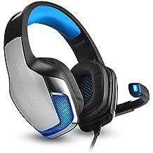 [Versión 2017] Auriculares Cascos para PS4 con Led KINGTOP PS4 Auriculares con Micrófono 3,5 mm Auriculares de Juego Profesional para PS4 Xbox One PC Portátil Tablet Smartphone - Leds Azul
