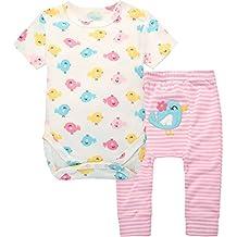 Bebé Body Manga Corta + Pantalones Recién Nacido 2 Piezas Trajes De Sistema De La Ropa