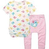 Bebé Niñas Body Manga Corta + Raya Pantalones Recién Nacido 2 Piezas Trajes, Pájaro 3-6 Meses