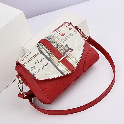 Modo delle signore versione coreana del sacchetto di spalla dell'onda, pacchetto di estate, zaino obliquo, mini sacchetto di personalità selvaggio ( Colore : Vino rosso ) Vino rosso