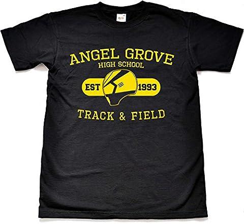 Lustig Angel Grove Track and Field Schwarz T shirt Kind Medium 9-11 Jahre (Schwarz Mighty Morphin Power Rangers Kostüm)