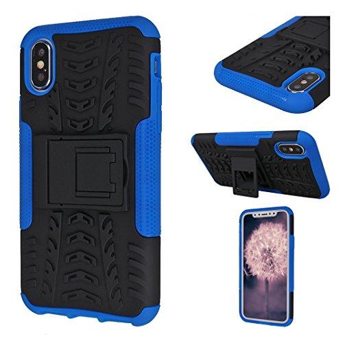 iPhone X Custodia, iPhone 10 Silicone Cover, MeiC Power 2 in 1 Dual Layer Protezione Shockproof Case Heavy Duty Defender Custodia in Plastica Dura Protettiva Custodia Cover Caso with Cavalletto per iP Blu