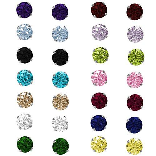 En argent sterling ronde pierre oxyde de zirconium Clous 3mm Jul-Ruby