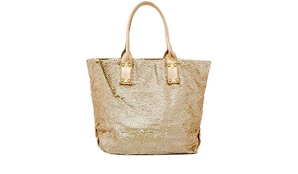 Pailletten Strandtasche XL Ibiza Handtasche Damen Shopper Glitzer in Rose Gold Tom&Eva