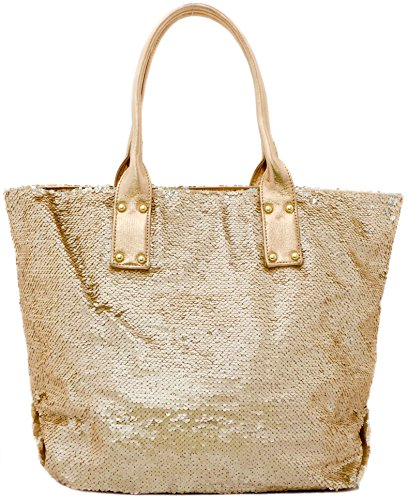 Tom & Eva Pailletten Strandtasche XL Ibiza Handtasche Damen Shopper Glitzer in Rose Gold (Toms Pailletten)