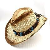ISEYMION Sombrero de vaquero Raffia Hollow hecho a mano para caballero Cowgirl Jazz Cap Sombrero Beach Sun hat ( Color : 1 , tamaño : 58CM )