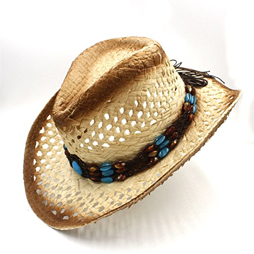 rauen Männer Raffia Hohl Western Cowboy Hut für Gentleman Western Wort Cowgirl Jazz Cap Papa Sombrero Strand Sonnenhut (Color : 1, Size : 58CM) (Cowboy Kostüm Diy)