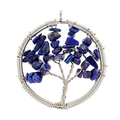 Contever® Colgantes de Joyas de NaturaldelLapislázulide LapisVida árbol De La Collar del Encanto para las Niñas y las