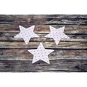 Applikation Sterne aus Bio-Baumwolle, 3 Stück, ca. 4 x 4 cm, Bügelbild, Aufnäher, Patch Aufbügeln, Mädchen, rosa, pink Punkte, Sterne