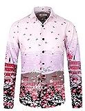APTRO Herren Hemd Freizeit Blumenhemd Baumwolle Mehrfarbig Langarm Shirt 1038 XL