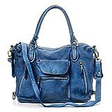 Ira del Valle, Damen Handtasche, echtes Leder, Vintage, Damen Umhängetasche, kleine Modell Miami Straßen Tasche, Made In Italy (avio)