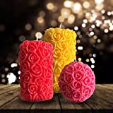 #4: Furnishing Factory Rose Scented designer Pillar Candles Perfect for gift Set of 3