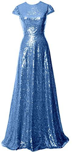 MACloth - Robe - Trapèze - Manches Courtes - Femme Bleu