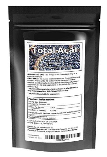 100% Baya De Acai Pura Dosis 1000 mg 2 Meses Fabricado en El Reino Unido Suplemento Dietético - 120 Cápsulas Vegetarianas …