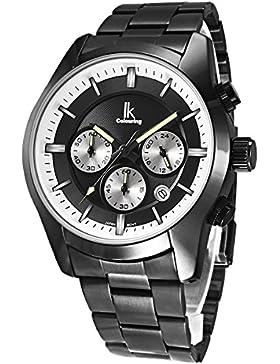 Alienwork Quarz Armbanduhr Multi-funktion Uhr Herren Uhren vintage sport Metall schwarz K008GA-05