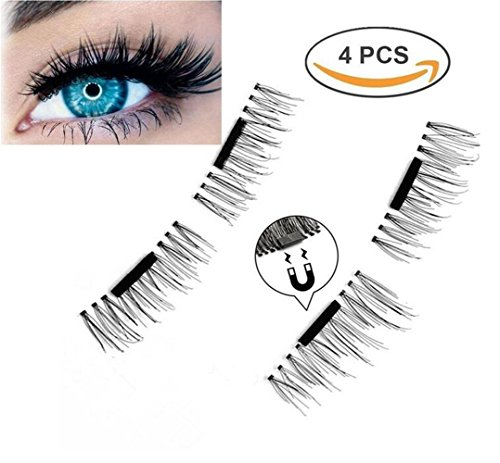 Emwel Magnetic False Eyelashes Reusable Fake Eyelashes Natural Look, Eye lashes Extension Ultra Thin Fiber No Glue Allergy,Cruelty Free,1 Pair 4 Pieces Handmade (Half Long Ultra Thin)
