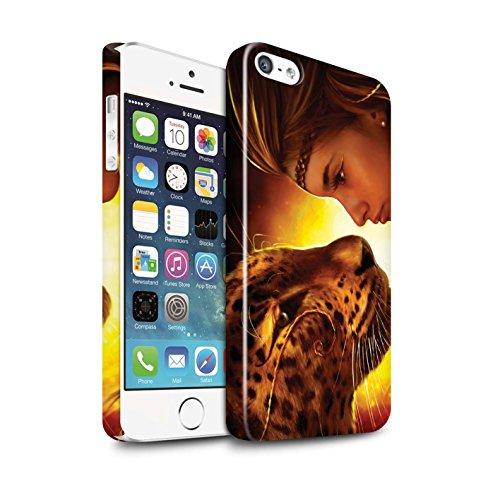 Officiel Elena Dudina Coque / Clipser Brillant Etui pour Apple iPhone 5/5S / Le Calin/Chiot/Chien Design / Les Animaux Collection Face à Face/Tigre