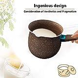 Goglor Cazo de leche antiadherente y calentador de mantequilla, mini olla de leche con efecto de madera, mango de baquelita, tamaño perfecto para calentar porciones más...