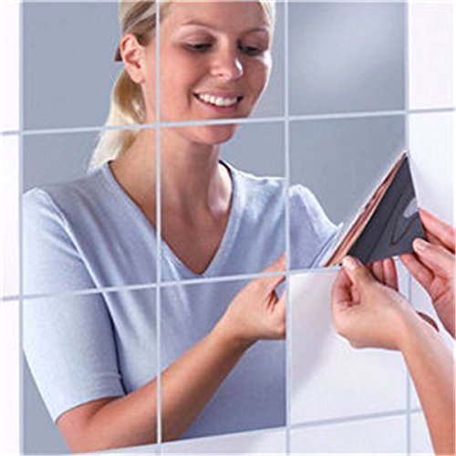 16 Pcs Wall Stickers Mirror Effect Self Adhesive Decorative Silver Stick On Mirror Tiles for Bathroom, Mosaic Mirror Wallpaper Art Mirrored Stickers Paste for Living Room, Bedroom. (0.2mm, 15x15 cm)