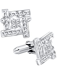 Mens Sterling Silver .925 Original Design Cufflinks, Fancy Square Design, With Channel Set Elegant Princess Cut...
