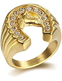 BOBIJOO Jewelry - Bague Chevalière Homme Tête Fer à Cheval Design Epuré Zirconium Acier Plaqué Or Voyageur Camargue