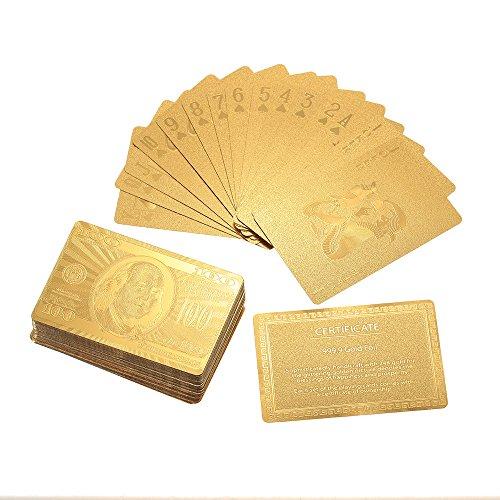 Lixada Certificada Puro de 24 Quilates de la Hoja de Oro Plateado Poker Naipes Tabla Juegos Regalo