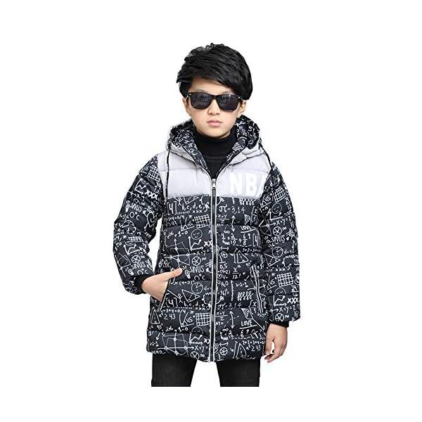 SXSHUN Niñas Abrigo Impermeable para Nieve Anorak Acolchado Padding Chaqueta de Algodón con Capucha Estampado 1