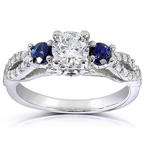 Bague avec zircons ronds trois pierres Saphir Bleu et Diamant 1carat (ctw) en or blanc 14K